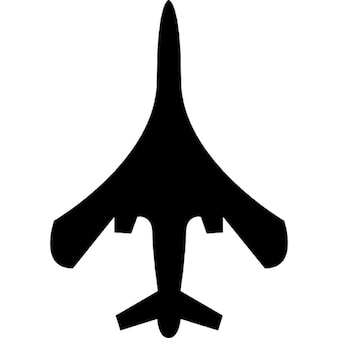 Airplane top or bottom view of black silhouette shape