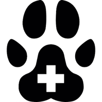 Animal paw with plus symbol