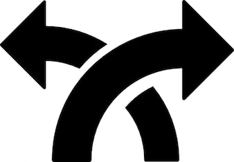Arrows crossing point to left and right