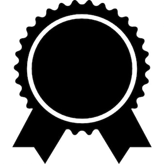Award badge of circular shape with ribbon tails