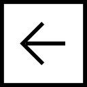 Back button left arrow symbol in a square