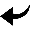 Back left arrow curve symbol