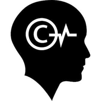 Bald head with copyright symbol and lifeline inside
