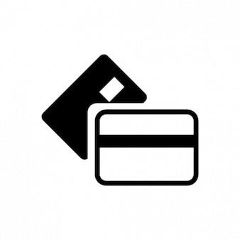 Bank cards icon in white and black