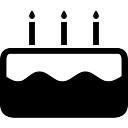 Birthday cake with three burning candles