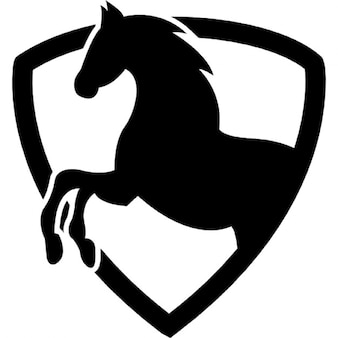 Black horse part in a shield outline