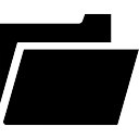 Black open folder symbol of interface