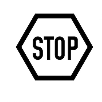 Black and white stop sign