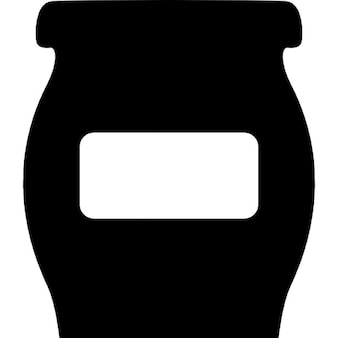 Bowl or flask with empty label for kitchen to store food