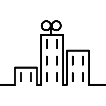 Buildings in the city cartoon outline