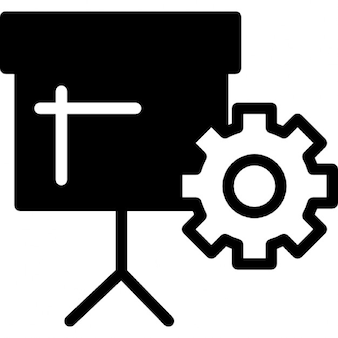 Business presentation with stand and cogwheel