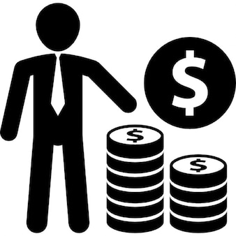 Businessman with dollar coin stacks