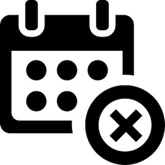 Cancel event interface symbol of a calendar with a cross button