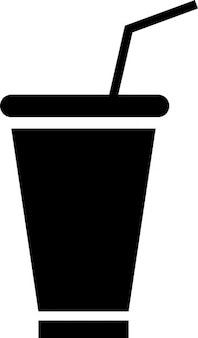 Carton glass with a straw