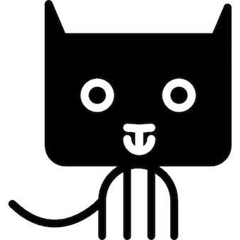 Cat cartoon of rectangular rounded head