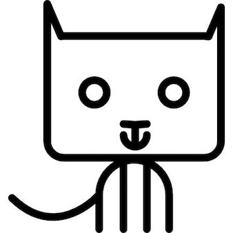 Cat cartoon sitting outline