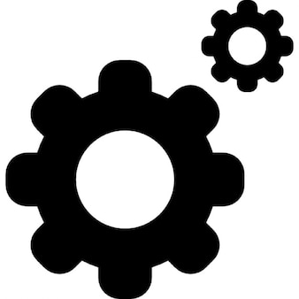 Cogs on wheels interface symbol for settings edition button