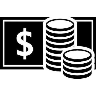 Coins stacks and banknotes