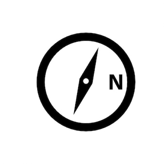 Compass symbol with a letter n