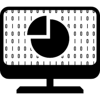 Computer screen with pie graph symbol