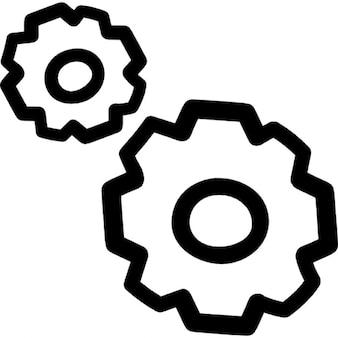 Конфигурация рисованной пару зубчатых колес очертаний