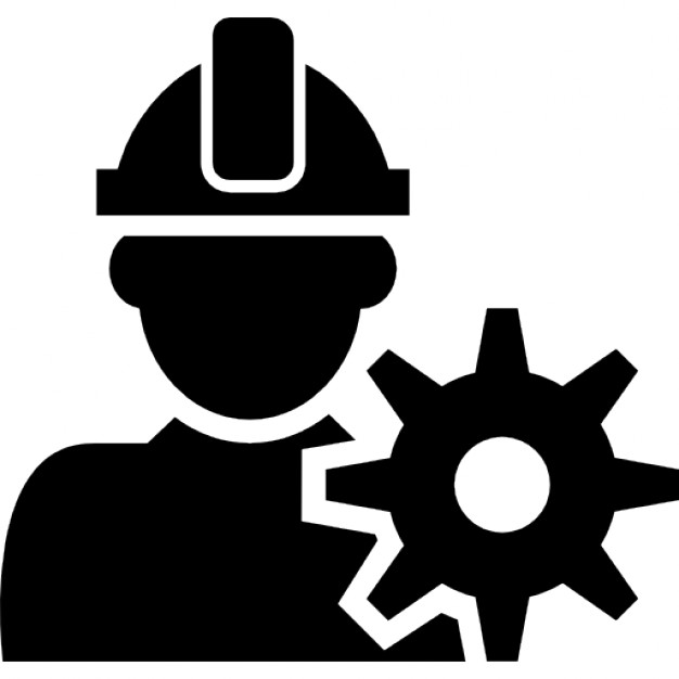 Constructor with hat and a gear