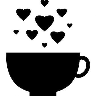 Cup with heart bubbles
