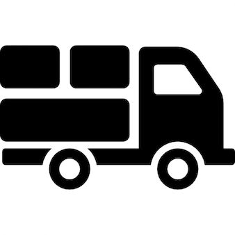 Delivery truck with packages behind
