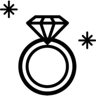 Diamond ring jewel outline from top view