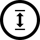 Double vertical arrow in circular button
