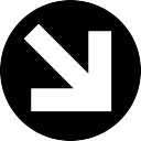 Down right arrow circular filled button