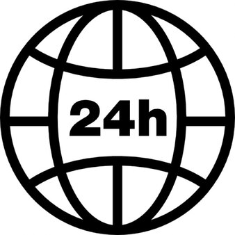 Earth grid with 24 hours symbol