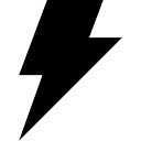 Electrical storm weather symbol of black lightning bolt shape