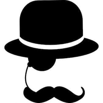 Elegant man with one eyeglass mustache and hat