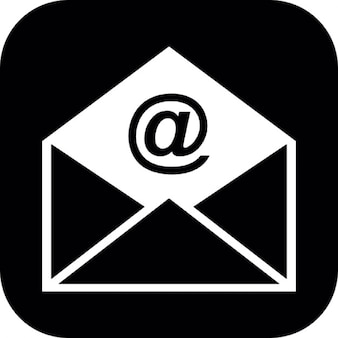 Email open envelope in a rounded square