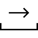 Emails interface symbol of right arrow on a tray