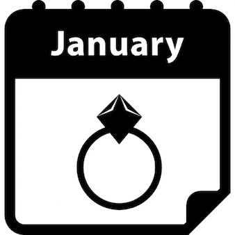 Engagement ring reminder January day on calendar interface symbol