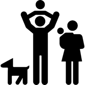 Family group of father and mother with two babies and a dog
