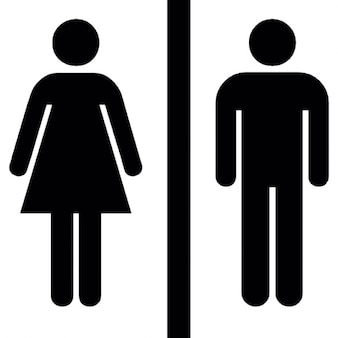 Female and male silhouettes with a vertical line in the middle