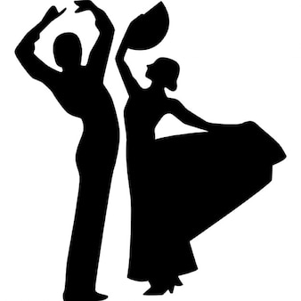 Flamenco dancers sexy couple silhouettes