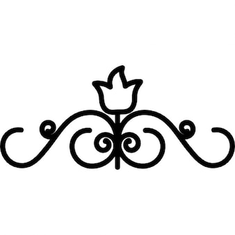 Floral design with one closed central flower on top of vines curves