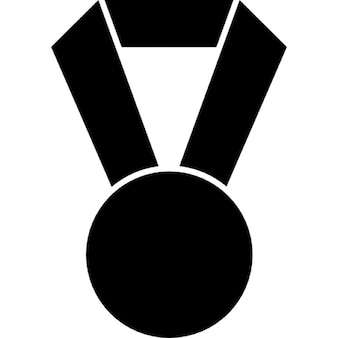 Football medal hanging of a ribbon in black shaped