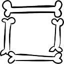 Halloween square frame of bones outlines