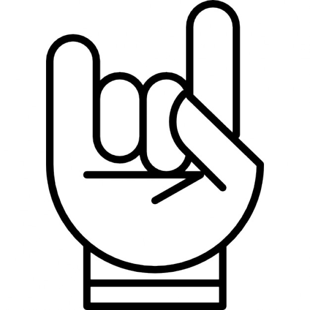 Hand with white outline forming a rock on symbol