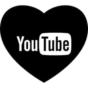 Heart with social media logo of youtube