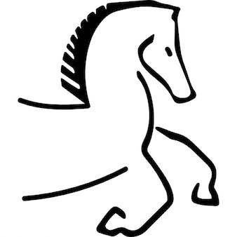 Horse cartoon outline facing right with running feet