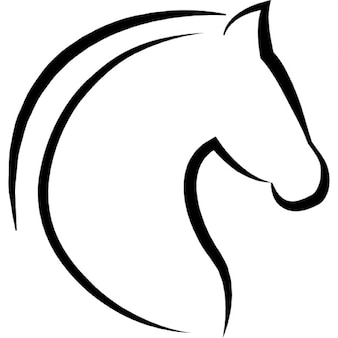Horse head with hair outline