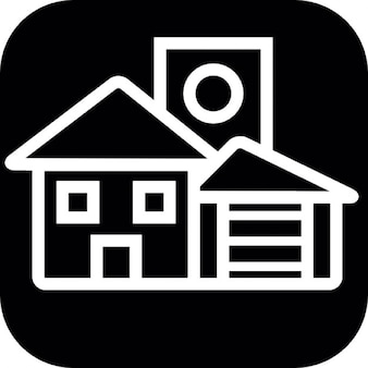 House structures white outline on black square background