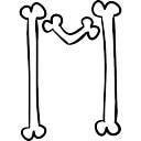 Letter M of bones outline