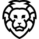 Lion face outlined front